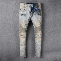 Giyim Tasarımcısı Pantolon SLP Mavi Siyah Kırmızı Yıkılan Erkek Ince Denim Düz Biker Skinny Jeans Erkekler Yırtık Kot