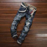 أزياء الرجال تصميم مستقيم سليم صالح السائق سروال جينز ممزق الكلاسيكية تدمير الأزرق بنطلون جينز