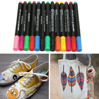 12 Multicolors Permanent Stoff Marker Stifte White Board T-Shirt Tuch Schuhe Textilfarbe DIY Kunst Schule