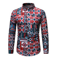 Men 2020 Spring And Summer New Style Long Sleeve Casual Prin...