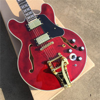 Custom Personalizzato Red Semi Hollow Jazz Guitar Electric Guitar Tremolo System Gold Black Black PickGuard PickGuard Dreewood