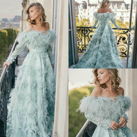 Feather Evening Dresses Off The Shoulder Lace 3D Floral Appl...