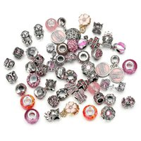 Wholesale mix 50pcs set High Quality Silver Bead Charm Muran...