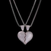 Leced out разбитое сердце кулон ожерелье для мужской женской моды хип-хоп ювелирные изделия любовник ожерелья 1 пара