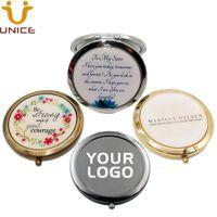 100 pçs / lote personalizado logotipo portátil make up bolso espelho de prata antiguidade ouro preto preto cosmético espelhos