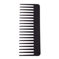 Vente chaude en plastique noir large dents peigne cheveux ondulés Styling démêlant large peigne
