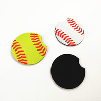 Baseball Softball Cup Mugs Mat Neoprene Car Coasters Floral print design Cup Holder Home Decor Party Favor GGA1714