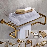 황동 욕실 액세서리 세트, 골동품 청동 종이 홀더, 수건 바, 화장실 브러쉬 홀더, 수건 홀더 욕실 하드웨어 세트