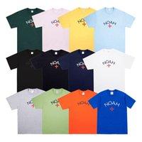 Packaging ABD Erkekler Tasarımcı tişört NOAH Klasik Çapraz Kısa Kollu Tee Moda Casual Basit Stil Erkekler Kadınlar Sokak Katı Renk ile