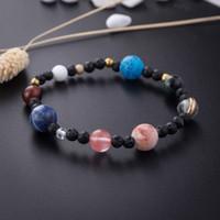 Naturstein-Energie-Korn-Armband-Universum Planeten Chakra Perlen Armbänder Art und Weise Sonnensystem elastisches Seil Armband Vintage-Schmuck