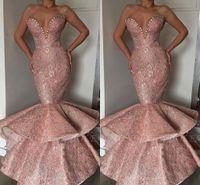 2019 New Tier Rüschen Rosa Mermaid Prom Dresses Schatz Perlen Pailletten Lange Party Anlass Kleider Prom Abendkleider Lange BC1314