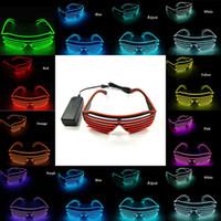 주도 파티 EL 안경 10 색 형광 플래시 네온 LED 선글라스 라이트 업 안경 레이브 의상 패션 액세서리 OOA7543