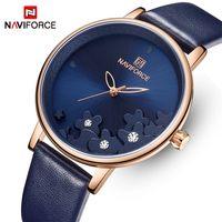 Kız relógios Feminino Reloj Mujer için NAVIFORCE Kadınlar Saatler Moda Kuvars Mavi Bayanlar saatler Kadın Casual Charm İzle