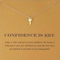 مع البطاقة! قلادة ذهبية اللون لطيف Dogeared مع مفتاح (الثقة هو المفتاح) مفتاح قلادة القلائد قلادة ملهمة