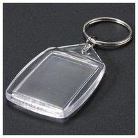 50 PC를 투명 아크릴 플라스틱 빈 열쇠 고리 삽입 여권 사진 키 체인 Keyfobs Keychian 키 체인 링