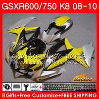 Наборы для Suzuki GSXR-750 желтого черного горячего GSXR-600 GSXR750 K8 GSXR 600 750 Body 9HC.84 GSXR600 GSX R750 R600 08 09 10 2008 2009 2019