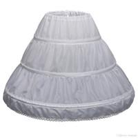 子供3フープペチコートウェディングブライドアクセサリー半スリップリトルガールクリノリンホワイトロングフラワーガールフォーマルドレスアンダースカート