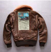 1965 желтый коричневый AVIREXFLY мужские кожаные куртки USS MIDWAT CVA-41 телячья кожа куртка