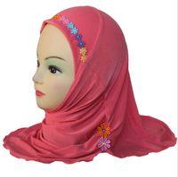 Foulard multi couleurs enfants musulmans fille Stripe épissage doux respirant arabe Wrap foulard foulard foulard coton foulard mercerisé