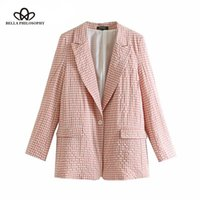 Plaid Buttons OL Blazers Coat Women 2019 Notched Collar Long...