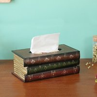 Caja de pañuelos de libro de estilo retro Caja de lujo Caja de almacenamiento de papel de anillo de servilleta de retablo de Europa Caja de almacenamiento de pañuelos de papel