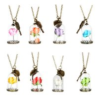 7 Colors Sweet Candy Glass Cover Red Yellow Dry Flower Neckl...