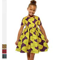 2020New verão africano dashiki bazin maxi vestido para garoto menina floral vestidos kanga flor impressão de manga curta rodada vestuário