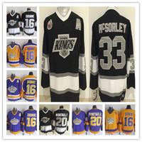 Men's Vintage 33 Marty Mcsorley Jerseys Los Angeles King Hockey 20 Luc Robitaille 16 Marcel Dionne CCM Noir Blanc Jaune Violet