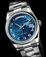 Vente chaude Top qualité automatique hommes montres cadran bleu en acier inoxydable bande hommes montre-bracelet livraison gratuite