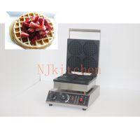 Industrial 4PCS Round Waffle Maker Machine Rostfritt stål Non-stick äggväggsbakare Waffeleisen Oven Pan Brödrost