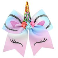 Princesa do unicórnio Headband Sequins Bow Com Chiffon Flores e pérola rabo de cavalo titular Cabelo Cheerleading Arcos clipe para meninas ZZA1915 200pcs