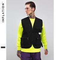 Streetwear gilet tactique hip hop gilets sans manches Hommes gilet de cargaison avec poches militaire manteau gilet neuf célèbre