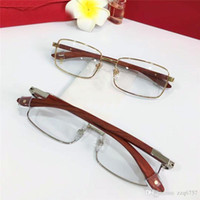Venta al por mayor New Fashion Designer Optical Glasses 8101024 Retro Metal Marco completo Lente transparente Piernas de madera Vintage Classic Clear Eyewear