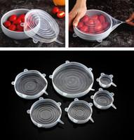 Silicone alimentare Involucri 6pcs / set riutilizzabile fresca Salva coprire il cibo Stretched durevole ciotola Piastra bagagli Coperchi OOA7631-1