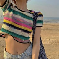 Women Rainbow Striped Knitted Tops 2020 New Summer Fashion S...