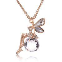 Collana di ali d'angelo di cristallo Collana di maglia d'oro maglione farfalla collana di balletto di fata per ragazze regalo di compleanno accessori moda donna gioielli