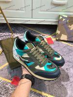Pelle scamosciata Donne Uomini Camo Ballerine Sneakers Rivet Studded Camouflage Rockrunner casuali della scarpa da tennis Trainer Abito scarpe Chaussures 35-45