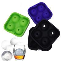 Whisky Ice Cube Maker 4 fori Ball Maker Stampo Sfera Silicone Sfera Stampo Party Brick Round Bar Accessori OOA7348-3
