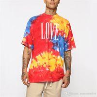 20SS Erkek Tasarımcı Tişört Moda Kravat Boyalı Sokak Stili Mürettebat Yaka Kısa Kollu Tişörtler Erkek tişörtleri