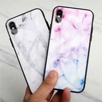 Cubierta protectora de mármol de vidrio templado casos de teléfono suave cubierta del borde de la cubierta dura prueba de golpes Vivienda rasguño anti para el iPhone XS Max Samsung S10e
