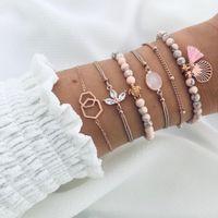6 pcs / set Cuentas de piedra natural Strand pulseras Gold Sea Shell pulseras del encanto de la mujer de cristal Braclets Conjunto de flores