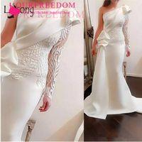 Abendkleider 2020 de un hombro acanalada vestidos de noche de la borla de la sirena Tutu Prom Vestidos árabe Cuello alto vestidos formales libre por encargo