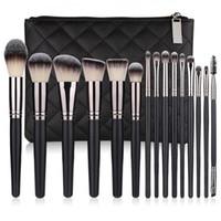 15шт макияж кисти набор высококачественных синтетических волос черный профессионал макияж кисти с сумкой