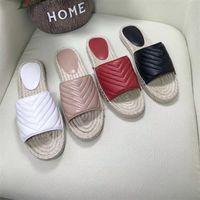 Espadrille de couro das mulheres Sandália Slide Designer Sandália de alta qualidade Plataforma de cabo de couro real Hardware duplo Slides de praia ao ar livre com caixa