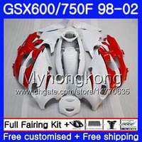 Suzuki GSXF 750 600 GSXF750 1998 1999 2000 2001 2002 292HM.56 GSX 600F 750F光沢のある白赤カタナGSXF600 98 99 00 01 02フェアリング
