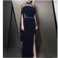 Azul marinho elegante mangas compridas Vestidos Dubai Sheer alta Neck frisada divisão formal do partido Vestidos Modest robe de soiree Prom Dress