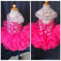 Koyu Fuschia Toddler Bebek Kızın Pageant Elbiseleri Yay Rhinestone Ruffles Organze Çiçek Kızların Elbiseleri Gerçek Görüntü