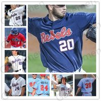 NCAA Ole Miss Rebels 2019 Béisbol 2 Ryan Olenek 3 Anthony Servideo 6 Thomas Dillard 9 Michael Spears Tyler Keenan cosido Jersey para hombre