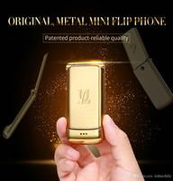 "Entriegelte V9 Mini Flip Handy 1,54"" Small Feature Phone drahtlosen Bluetooth Dialer FM MP3-Metallkasten-mobiles GSM Quad 4-Bands"