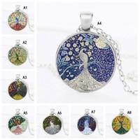 Nouveau Beau Collier de plumes de paon Pour les femmes cabochons En verre animal pendentif chaînes De Mode Bijoux Cadeau